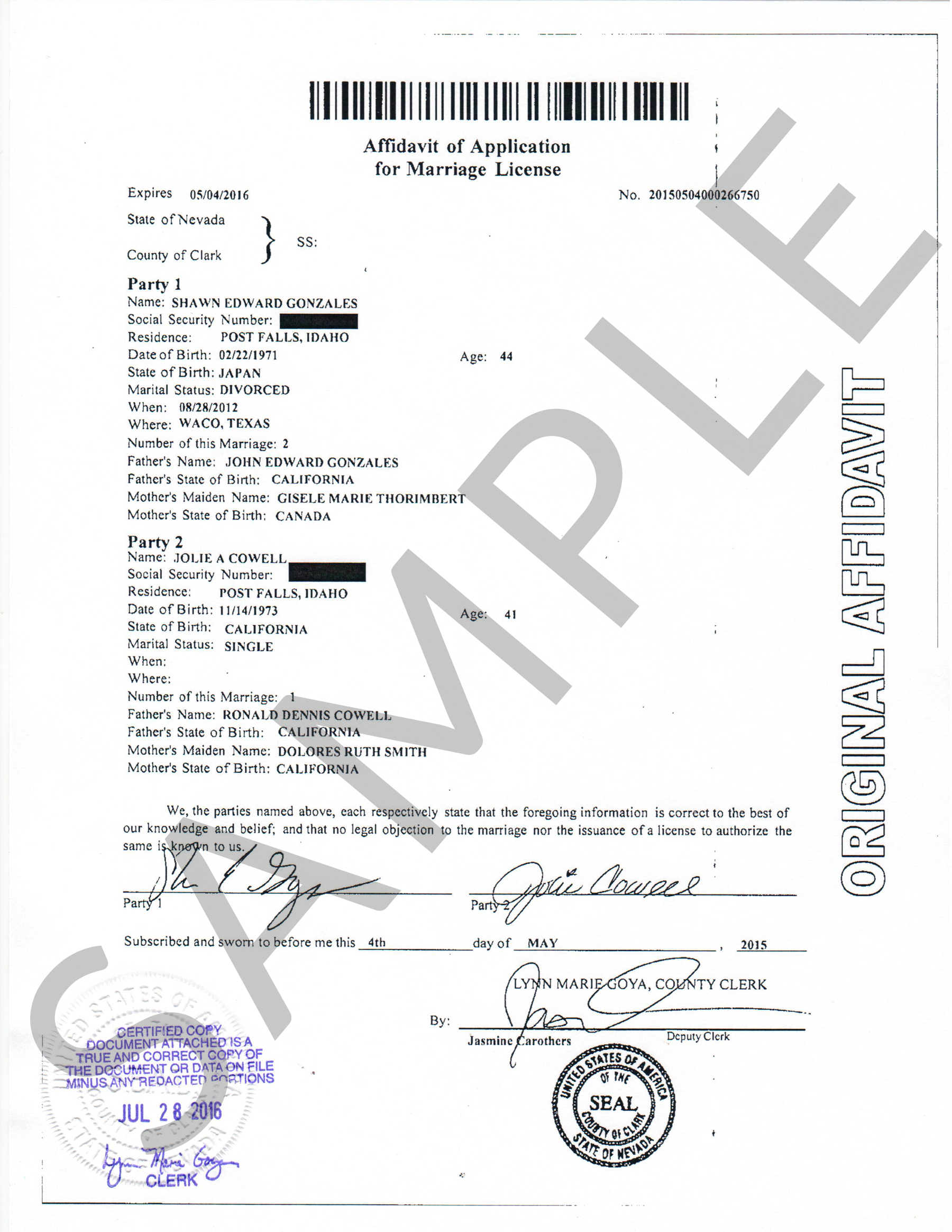 Marriage certificate vegas